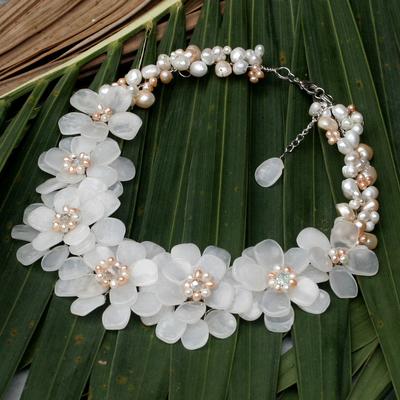 Floral Quartz and Pearl Necklace 'Elixir' (Thailand)