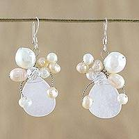 Pearl and quartz cluster earrings, 'Elixir' - Bridal Beaded Quartz Earrings