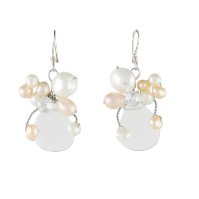 Bridal Beaded Quartz Earrings
