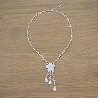 Quartz Y necklace, 'Floral Rain' - Handmade Quartz Y Necklace