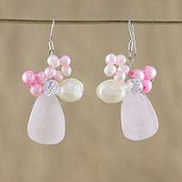 Pearl and quartz cluster earrings, 'Gardenia Garden' - Quartz and Pearl Beaded Earrings