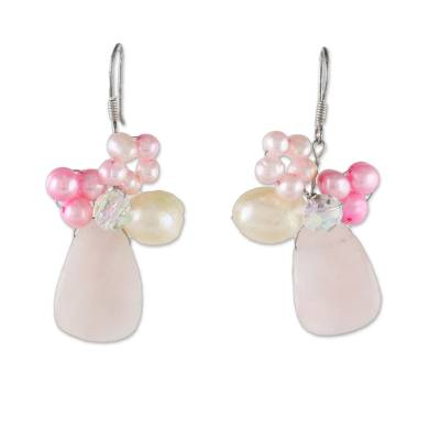Quartz and Pearl Beaded Earrings