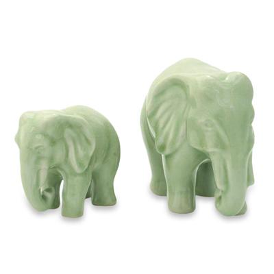 Celadon ceramic statuettes (Pair)
