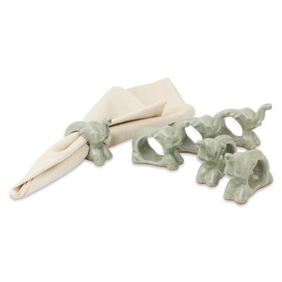 Celadon ceramic napkin rings, 'Elephant Hello' (set of 6) - Hand Made Celadon Ceramic Napkin Rings (Set of 6)