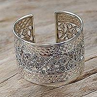 Sterling silver cuff bracelet, 'Swirl and Dance'