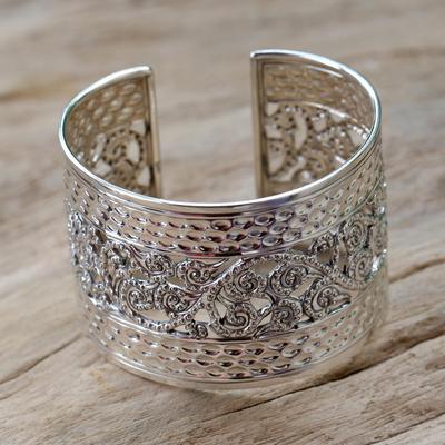 Sterling silver cuff bracelet, 'Swirl and Dance' - Sterling Silver Cuff Bracelet