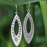 Sterling silver dangle earrings, 'Floral Wreath' - Artisan Crafted Sterling Silver Dangle Earrings