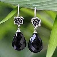 Onyx flower earrings, 'Roses' - Onyx and Silver Flower Earrings