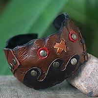 Leather cuff bracelet, 'Tic Tac Toe' - Unique Leather Cuff Bracelet