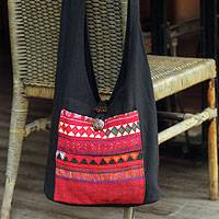 Cotton shoulder bag, 'Akha Dreams' - Handcrafted Cotton Shoulder Bag