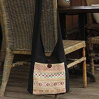 Cotton shoulder bag, 'Happy Geometry' - Cotton Patterned Shoulder Bag Handmade in Thailand