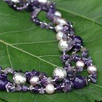 Pearl and amethyst strand necklace, 'Glorious'