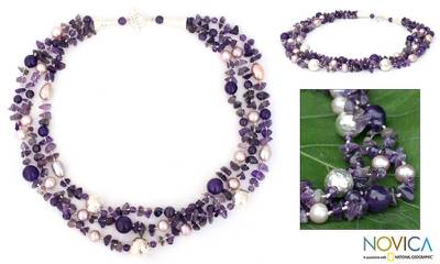 Pearl and amethyst strand necklace, 'Glorious' - Hand Crafted Silver and Amethyst Necklace