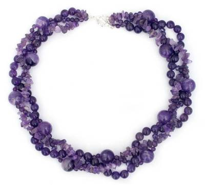 Amethyst Beaded Torsade Necklace