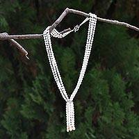 Cultured pearl multi-strand necklace, 'Tassel' - Pearl strand long necklace