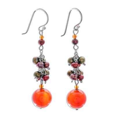 Pearl and Carnelian Cluster Earrings