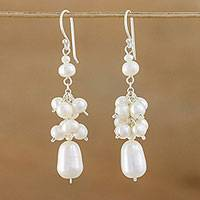 Pearl cluster earrings, 'Celebration' - Bridal Pearl Cluster Earrings