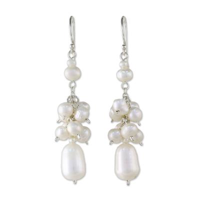 Pearl cluster earrings, 'Celebration' - Bridal Pearl Cluster Earrings
