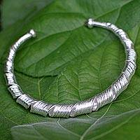 Sterling silver cuff bracelet, 'Ribbon Twist' - Unique Sterling Silver Cuff Bracelet