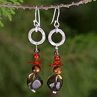 Amber and tiger's eye dangle earrings, 'Thai Exotic' - Hand Made Sterling Silver and Amber Dangle Earrings