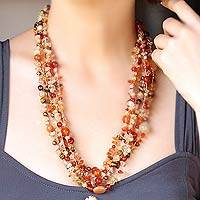Pearl and carnelian strand necklace, 'Summer Exuberance' - Beaded Carnelian Necklace