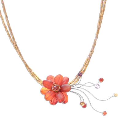 Hand Made Quartz Flower Necklace