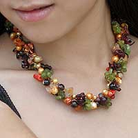 Pearl and chalcedony beaded necklace 'Sweet Floral Cascade' - Colorful Multi Gemstone Beaded Necklace