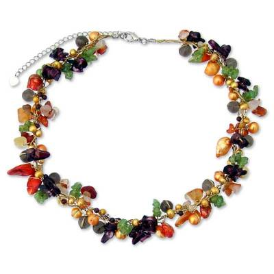 Artisan Crafted Pearl and Chalcedony Beaded Necklace with Smoky Quartz