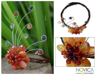 Carnelian and garnet wrap bracelet, 'Dream Flower' - Handcrafted Floral Beaded Carnelian Bracelet
