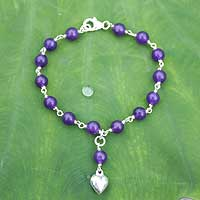 Sterling silver heart bracelet, 'Purple Love' - Quartz and Silver Heart Bracelet