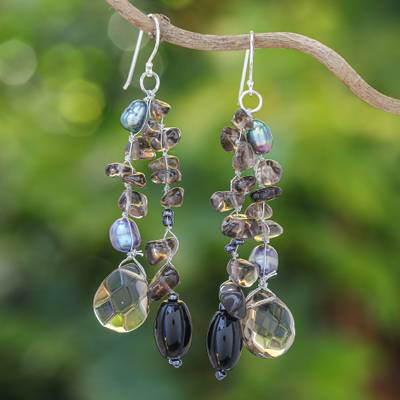 Cultured pearl waterfall earrings, 'Nocturnal Symphony' - Pearl and Sterling Silver Dangle Earrings