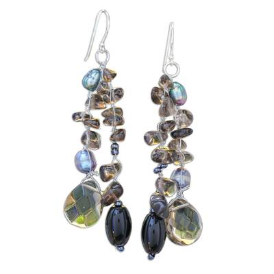 Pearl and Sterling Silver Dangle Earrings from Thailand