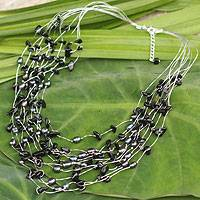 Pearl strand necklace, 'Midnight Shower' - Pearl Necklace from Thailand