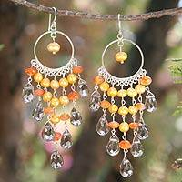 Pearl and carnelian chandelier earrings, 'Sun Ruffles' - Pearl and Carnelian Chandelier Earrings