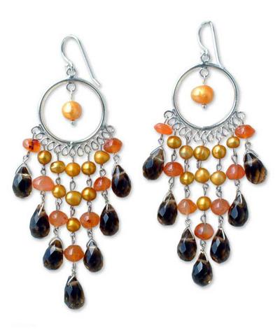 Pearl and carnelian chandelier earrings, 'Sun Ruffles' - Pearl and Carnelian Chandelier Earrings