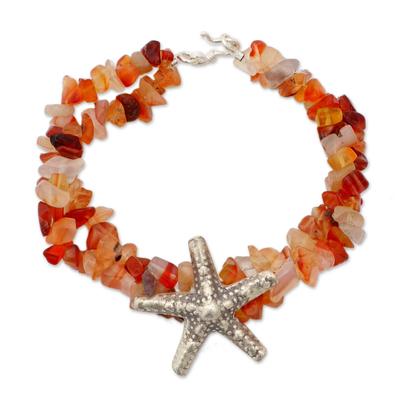 Chalcedony pendant bracelet