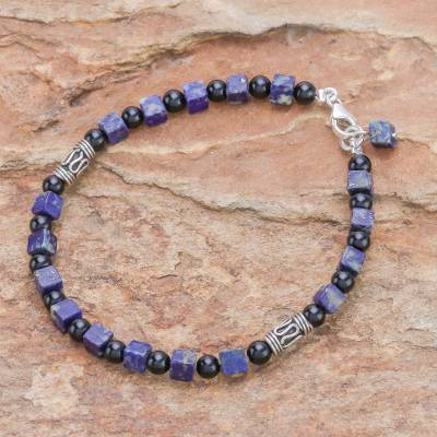 Quartz and lapis lazuli beaded bracelet, 'Blue Night' - Quartz and lapis lazuli beaded bracelet