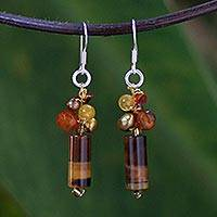 Pearl and tiger's eye dangle earrings, 'Insightful' - Unique Tiger's Eye Dangle Earrings