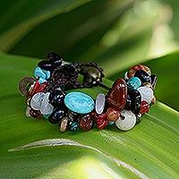 Quartz beaded bracelet, 'Festive Fusion'