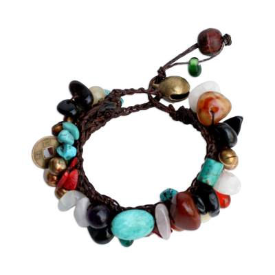 Quartz beaded bracelet, 'Festive Fusion' - Beaded Multigem Bracelet