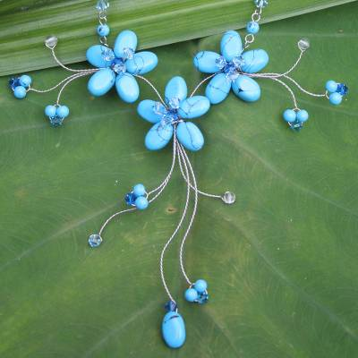 Flower necklace, 'Blue Floral Cascade' - Hand Crafted Turquoise coloured Necklace