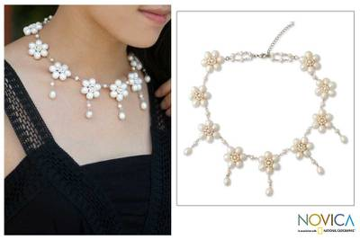 Pearl choker, 'White Jasmine' - Unique Floral Pearl Necklace