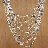 Pearl strand necklace, 'Peacock'