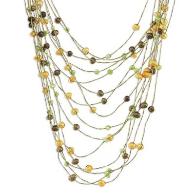 Pearl strand necklace, 'Sunset' - Pearl Strand Necklace