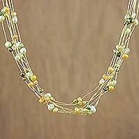 Pearl strand necklace, 'Spring Crocus'