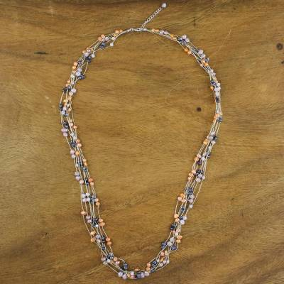 Pearl strand necklace, 'Sweet Crocus' - Thai Pearl Strand Necklace