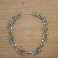 Pearl strand necklace, 'Delightful Blue'