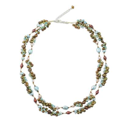Pearl strand necklace, 'Delightful Blue' - Pearl strand necklace