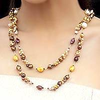 Pearl strand necklace, 'Delightful Brown'