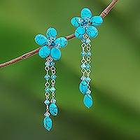 Floral earrings, 'Blossom Blessing' - Floral Turquoise coloured Earrings